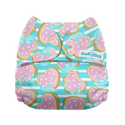 Mama Koala Diaper SFL Exclusive Heart Cookies on Stripes-Brown Tag